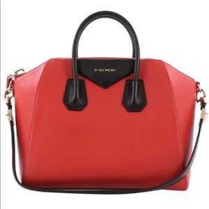 Givenchy Antigona Red Black Leather Medium Bag